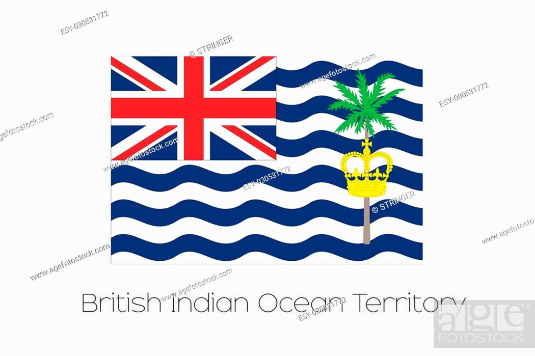 Stock Photo: An Illustration of the flag, with name, of the country of British Indian Ocean Territory.
