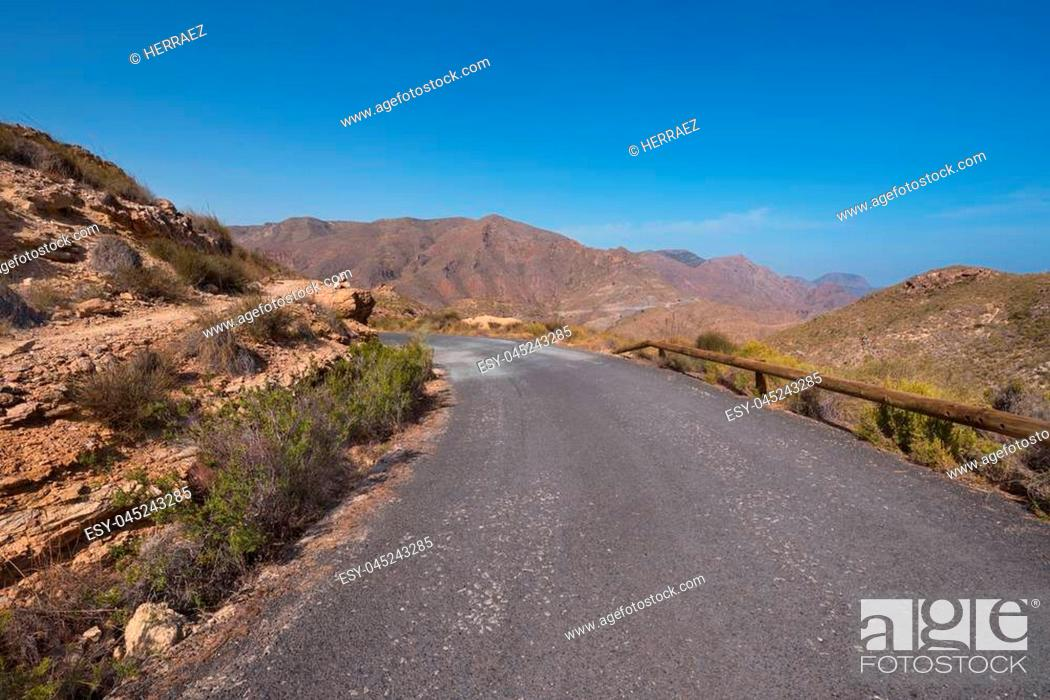 Stock Photo: La Azohia landscape mountain road in Cartagena bay, Murcia region, Spain.