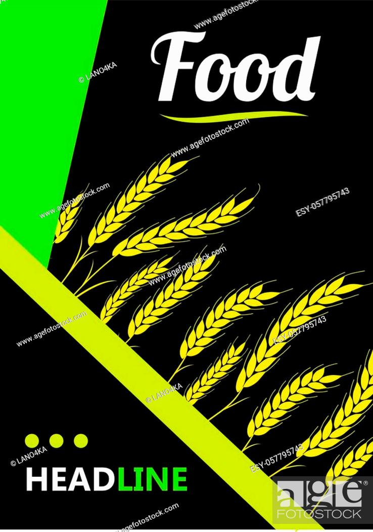Stock Vector: Design headline greend Wheat Ears on black background. For Natural Product Company. Organic wheat, bread agriculture.