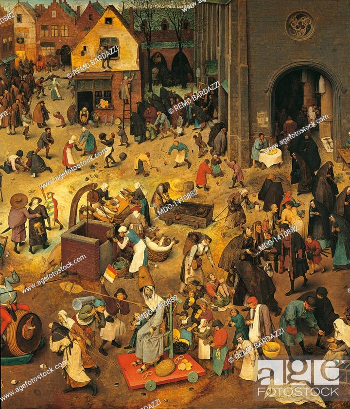 Stock Photo: The Fight Between Carnival and Lent, by Pieter Bruegel the Elder, 1559, 16th Century, oil on wood, 118 x 164 cm. Austria, Wien, Kunsthistorisches Museum.