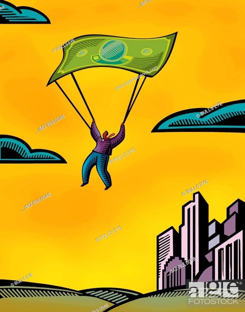Stock Photo: A man using a bank note as a parachute.