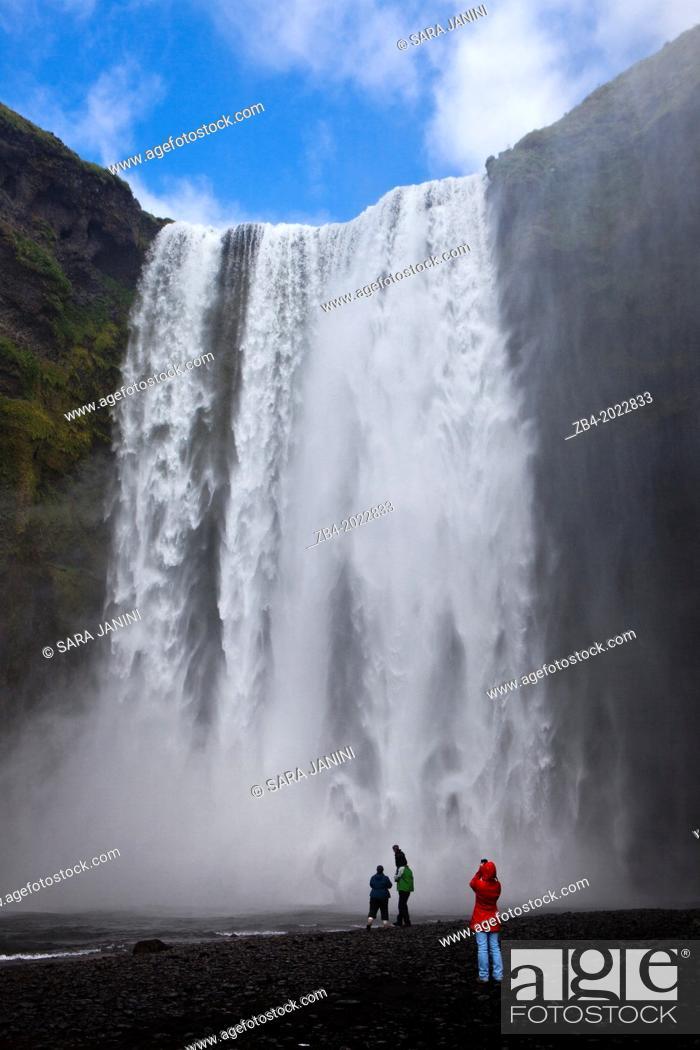 Stock Photo: Skogafoss Waterfall, Golden Triangle, South Iceland, Polar Regions.