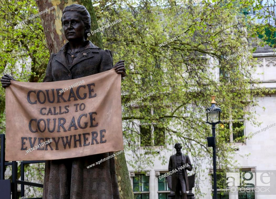 Stock Photo: The statue of suffragist leader Millicent Fawcet is unveiled in Parliament Square. This is the first-ever monument of a woman designed by Turner Prize-winning.