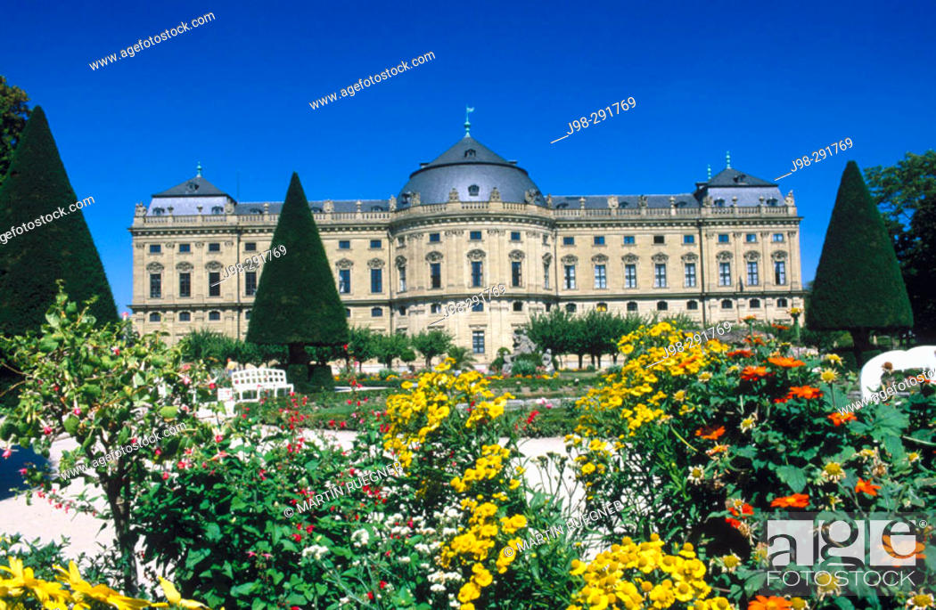 Stock Photo: Baroque episcopal Residenz and gardens (a World Heritage Site). Würzburg. Bavaria, Germany.