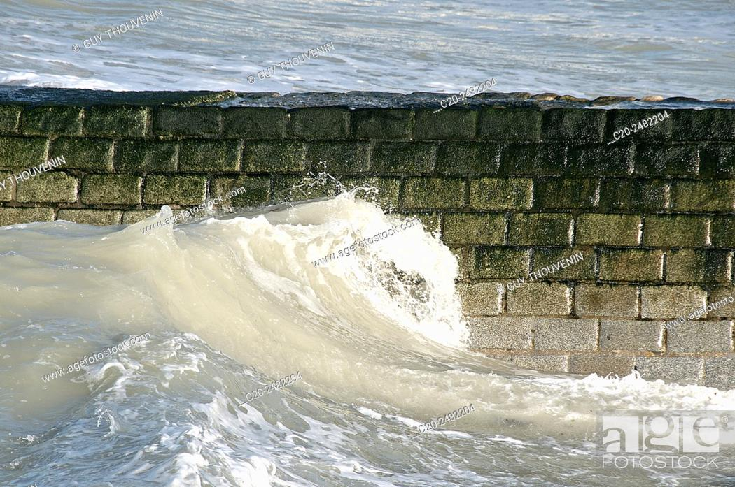 Stock Photo: Tide waves coming in, Normandy, France.
