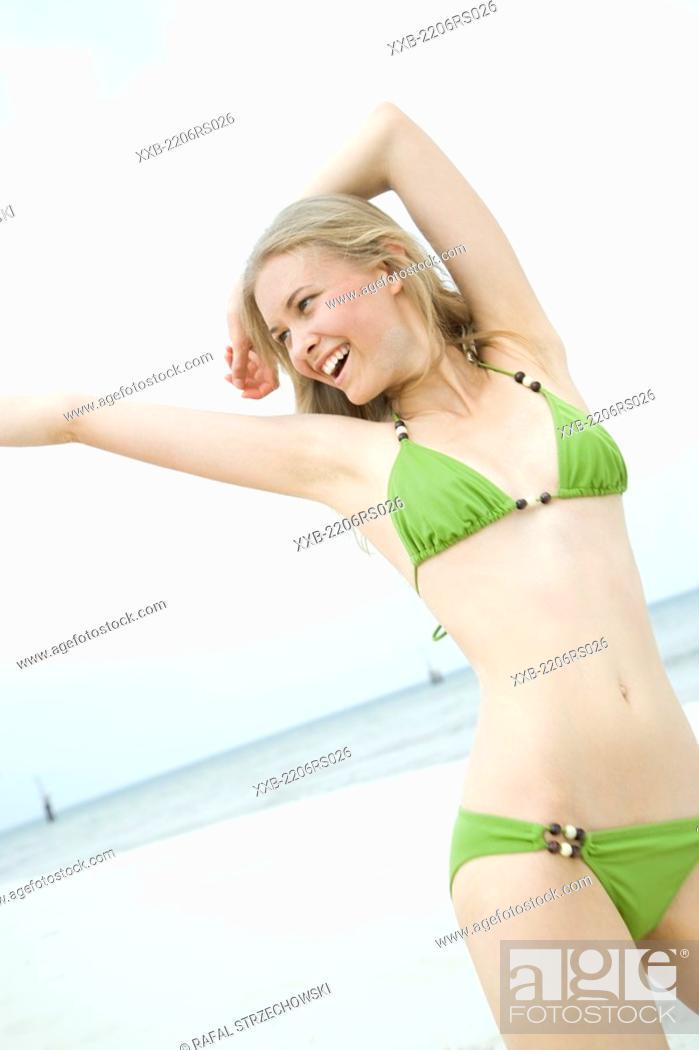 Stock Photo: young woman in bikini.