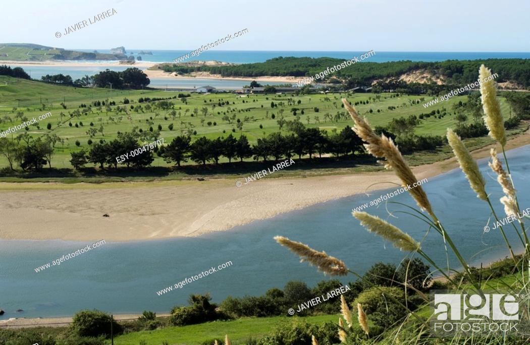 Stock Photo: River Pas mouth. Ria de Mogro. Parque Natural Dunas de Liencres. Miengo. Cantabria. Spain.