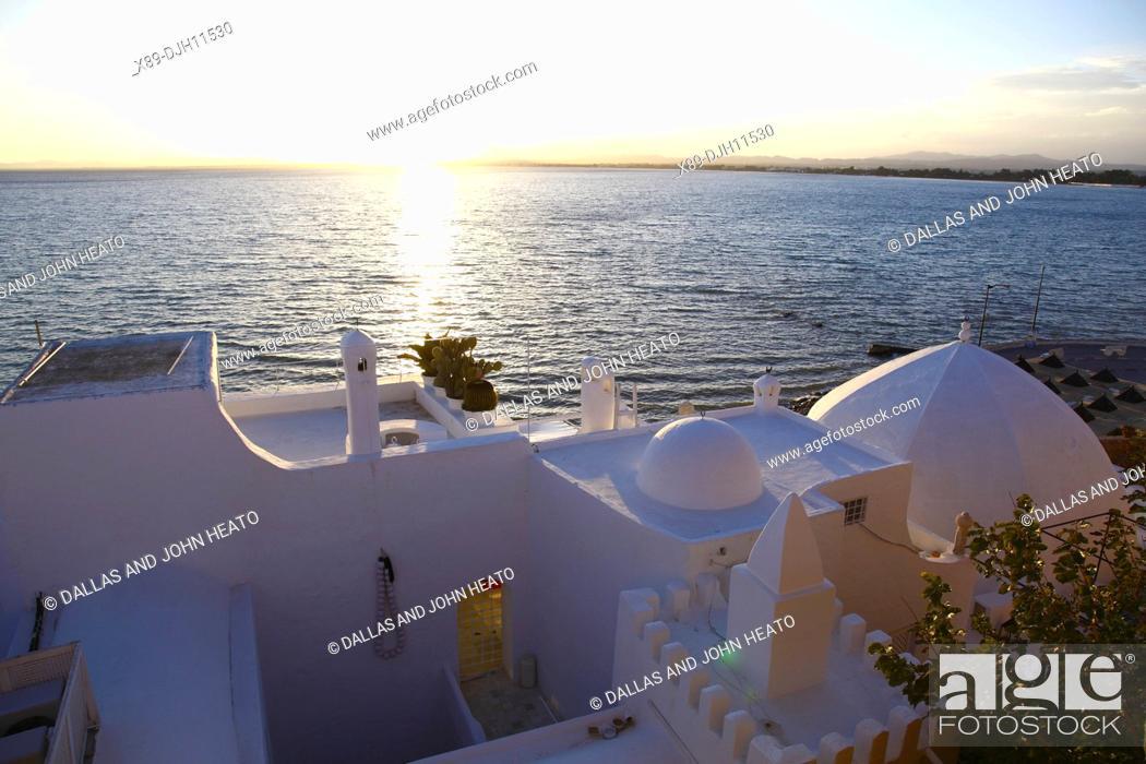 Stock Photo: Africa, Tunisia, Mediterranean Sea, Hammamet, Medina, Waterfront Buildings.