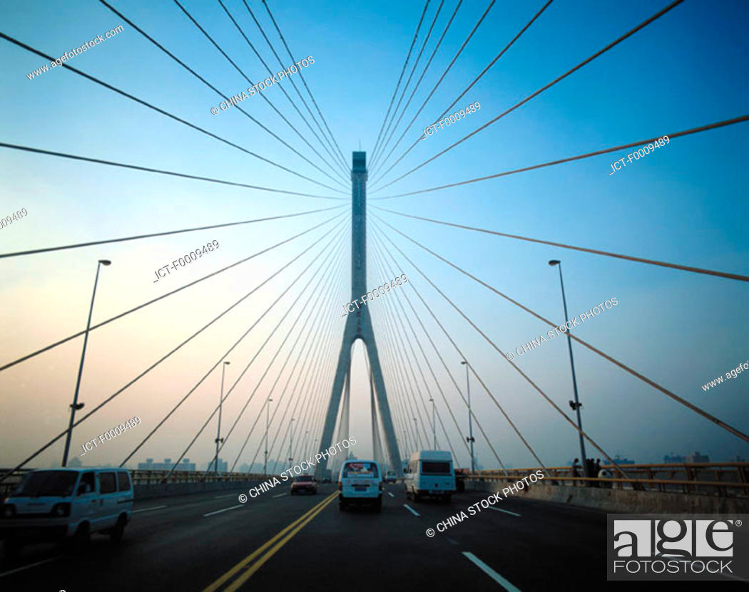 Stock Photo: China, Shanghai, Yang Pu bridge.