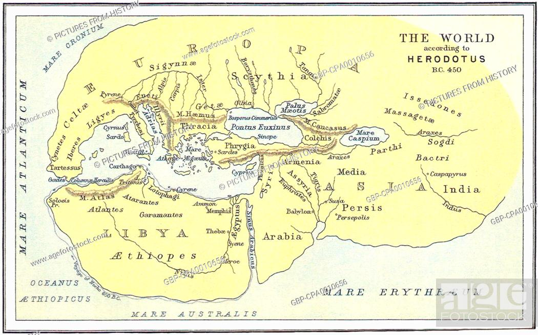 Greece: Map of the World according to Herodotus, c. 450 BCE ... on map of oceans in greece, map of persian war battles 499 479 bc, map of peloponnesian league,