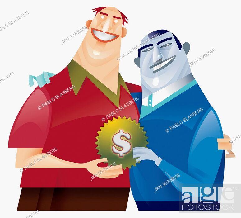 Imagen: Two men holding cog with dollar sign decoration.