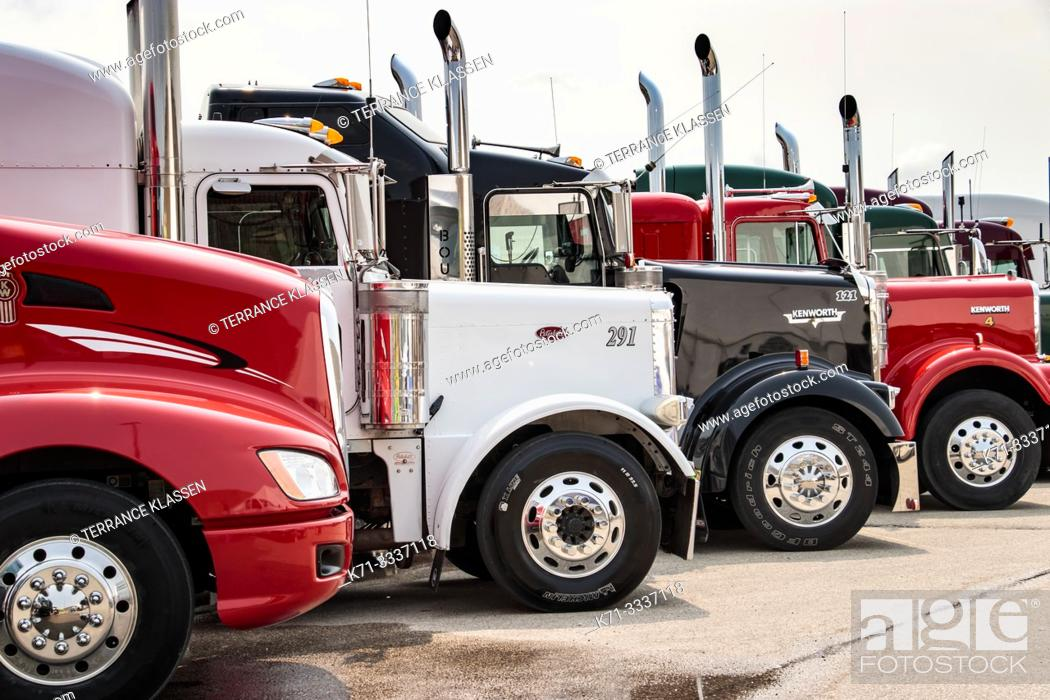 Stock Photo: Big Rigs Big Hearts 2018 truck rally fund raising event in Winkler, Manitoba, Canada.