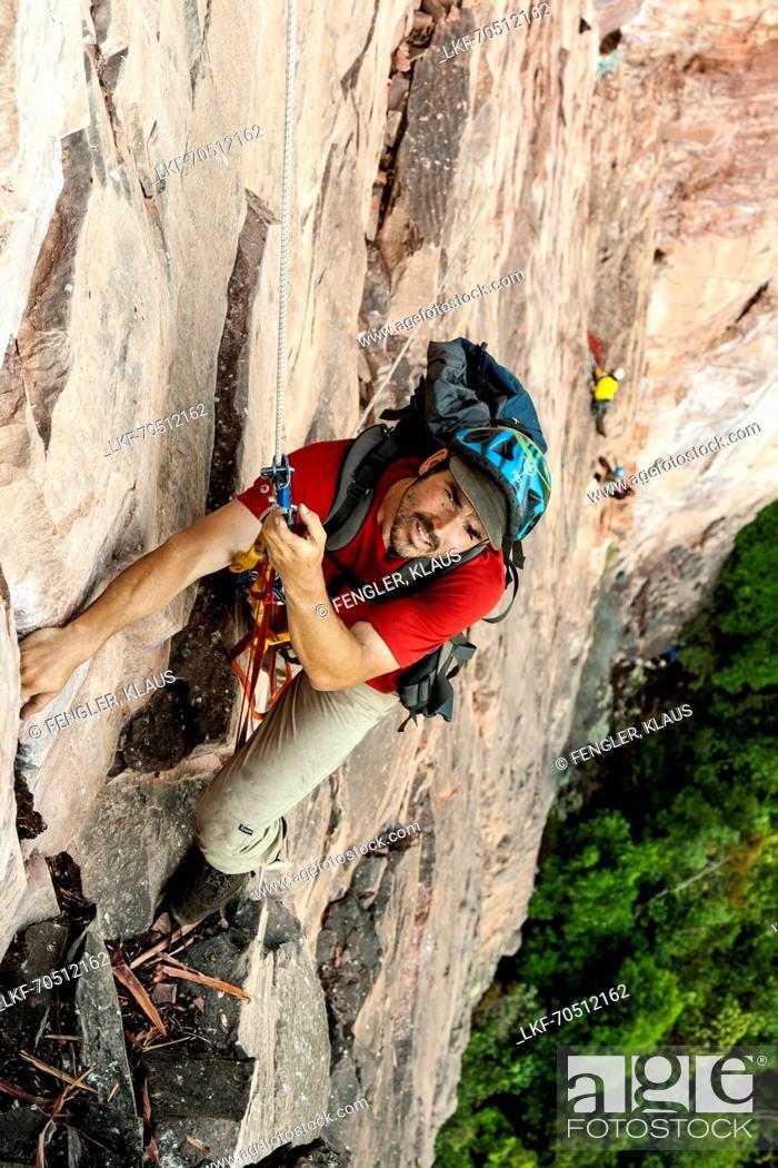 Stock Photo: Climber ascending on a fixed rope, Acopan Tepui, Macizo de Chimanta, Venezuela.