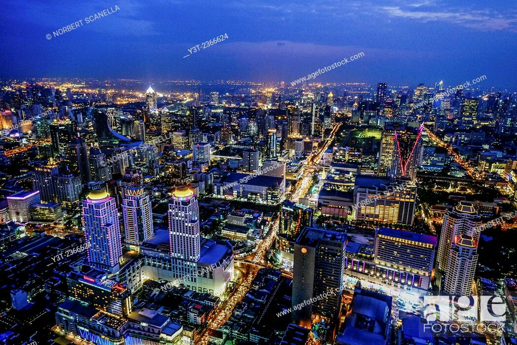 Stock Photo: Asia. Thailande, Bangkok. Aerial view of the city by night.