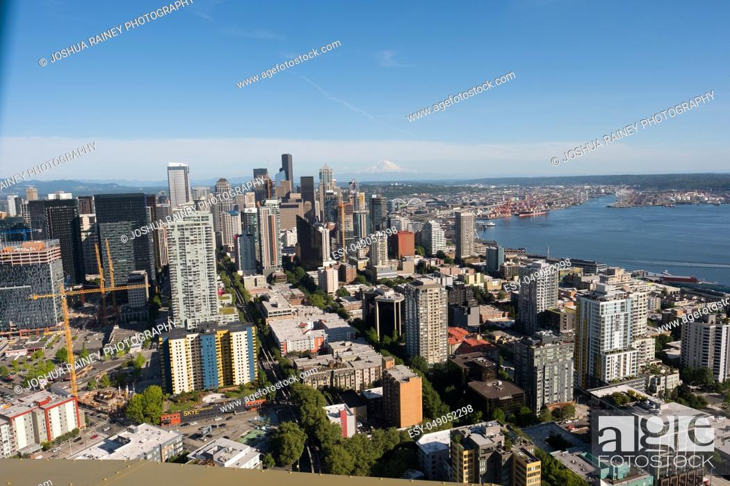 Stock Photo: Seattle, WA - June 4, 2019: View of downtown Seattle Washington as seen from the top of the Space Needle.