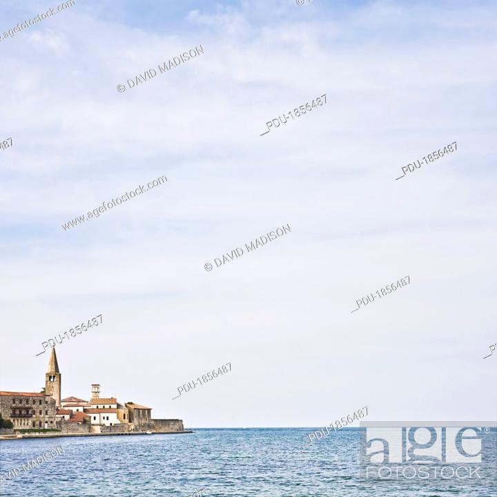 Stock Photo: Town of Rovinj and Bay of Rovinj.