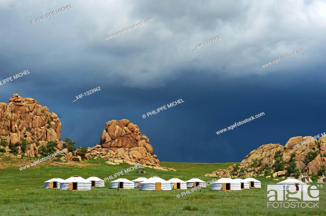 Stock Photo: Mongolia, Ovorkhangai province, tourist camp at Batkhan national park.