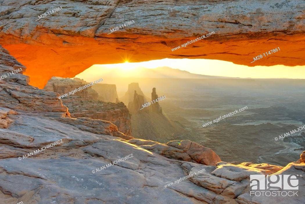 Stock Photo: Sunrise at Mesa Arch, Canyonlands National Park Utah.