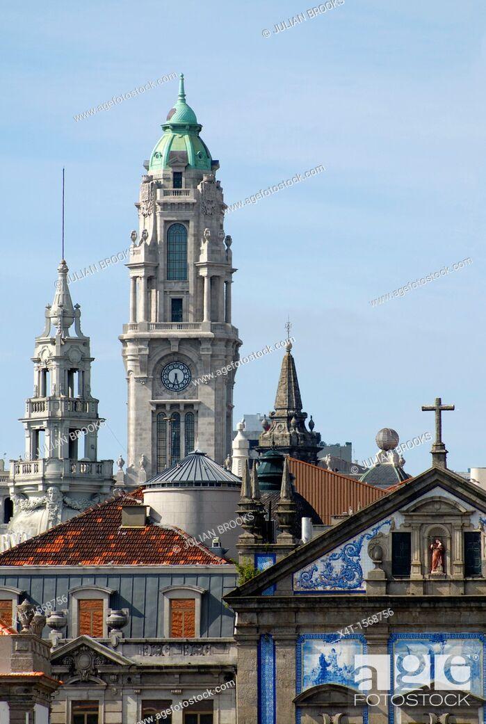 Stock Photo: The skyline  with Igreja Dos Congregados Church tower, Porto, Portugal.