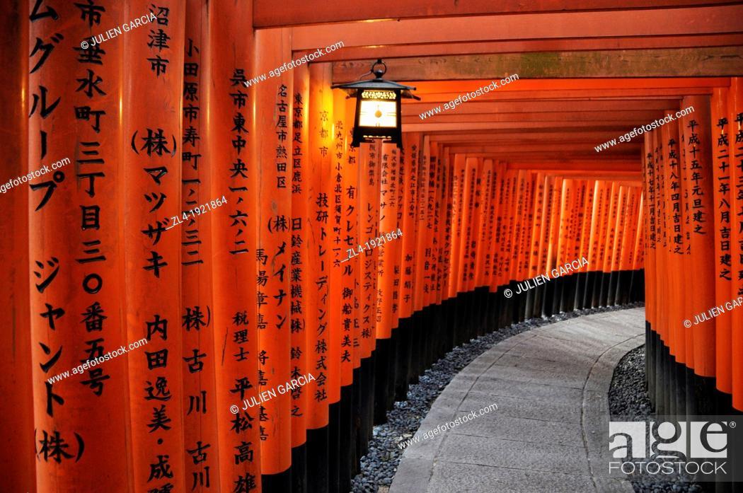 Stock Photo: Thousands of vermilion torii gates, Fushimi Inari sanctuary. Japan, Honshu, Kinki, Kyoto, Fushimi Inari Taisha. (/Julien Garcia).