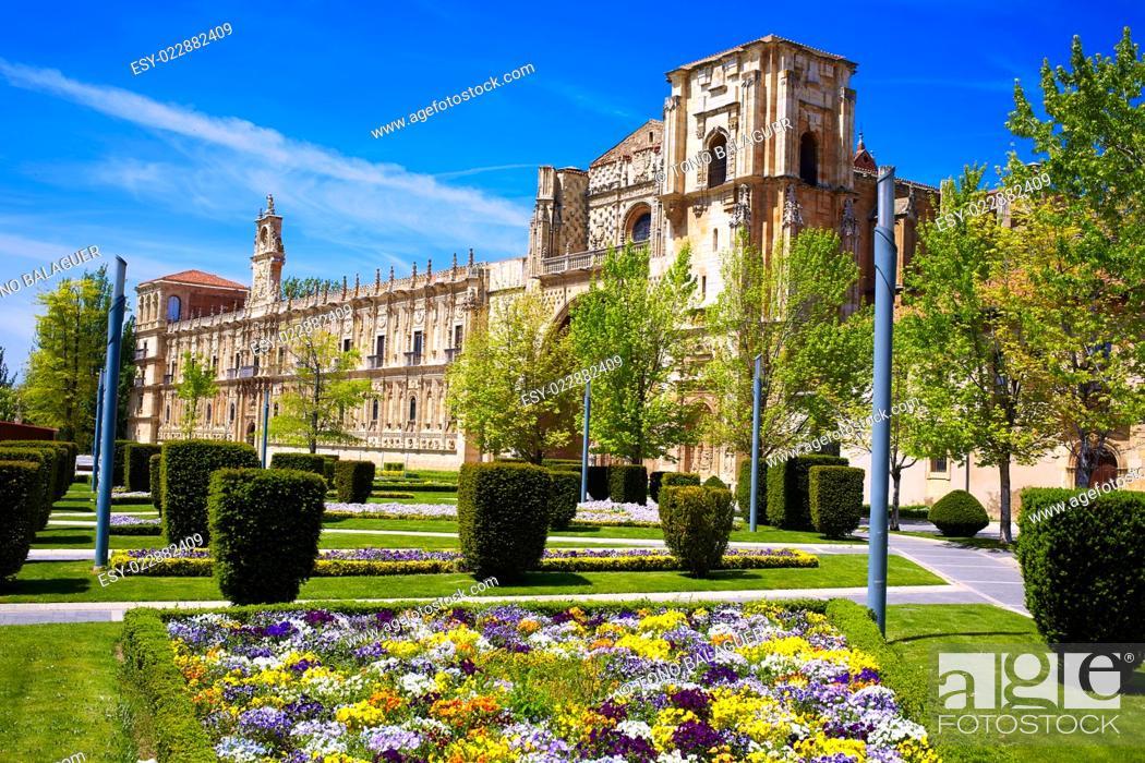 Stock Photo: San Marcos in Leon at the way of Saint James Castilla Spain.