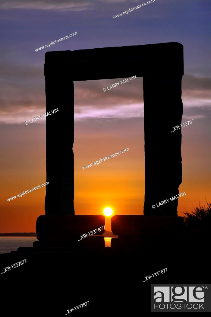Stock Photo: Temple of Apollo just before sunset on the island of Naxos in Greece.