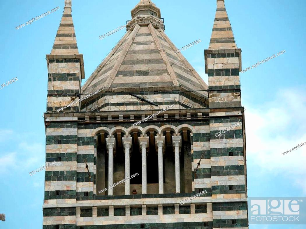 Stock Photo: Siena - Duomo cathedral bell tower.