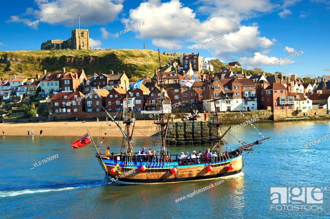 Stock Photo: Tourists on a Pirate boat in Whitby harbour  North Yorkshire, England.