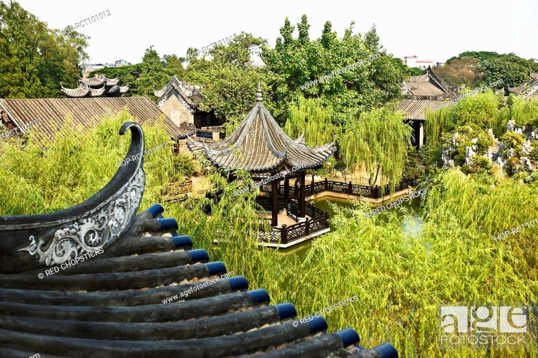 Stock Photo: High angle view of a gazebo, Yu Yin Shan Fang, Panyu, Guangzhou, Guangdong Province, China.