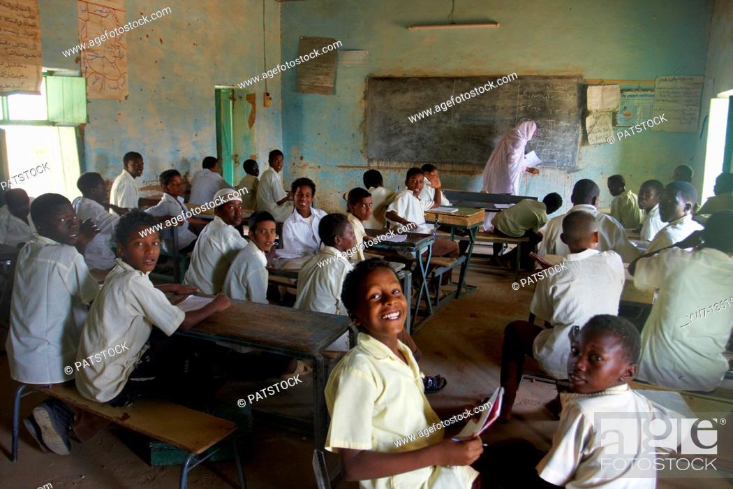 Stock Photo: Classes at school in Karima, Sudan.