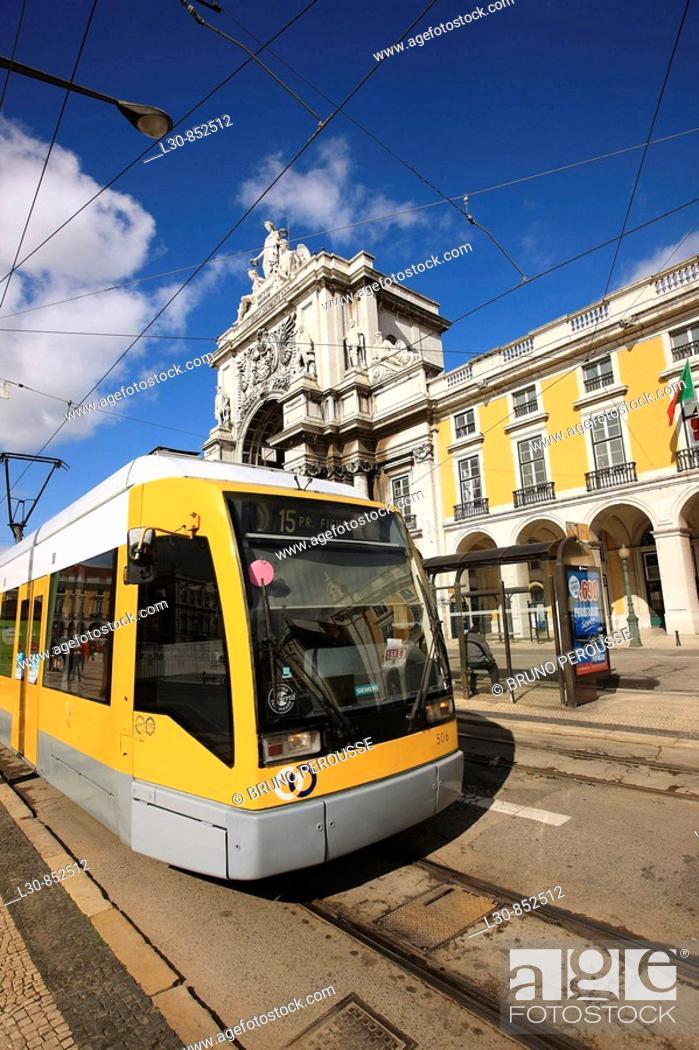 Stock Photo: Electric tramway in Praça do Comercio square, Lisbon, Portugal.
