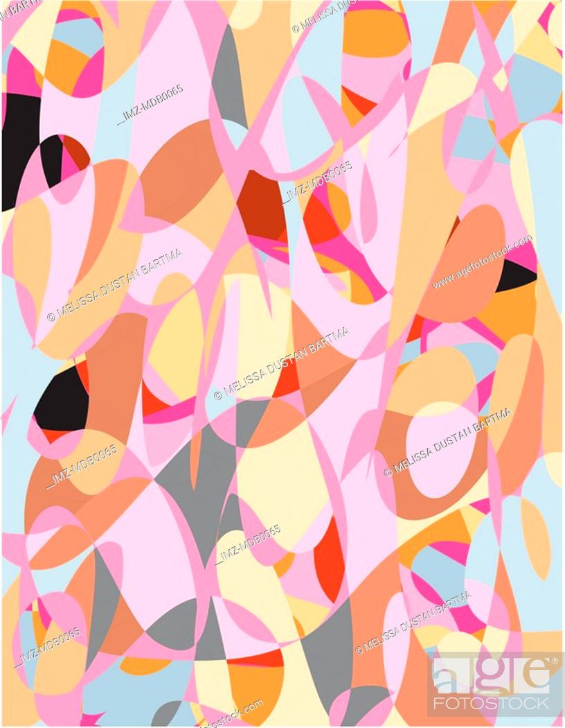 Stock Photo: An abstract pink, black, brown and blue contemporary art pattern.
