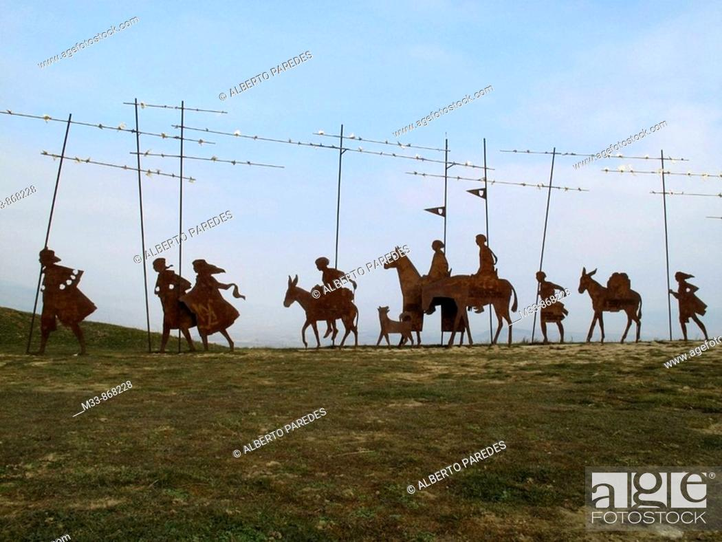 Stock Photo: Monument to the Pilgrim at Alto del Perdon. Way of St James, Navarre, Spain.