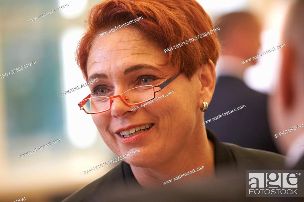 Stock Photo: 15 October 2018, Rhineland-Palatinate, Koblenz: The lawyer Nicole Schneiders, who was also active in the NSU trial, is waiting in the courtroom of the Regional.