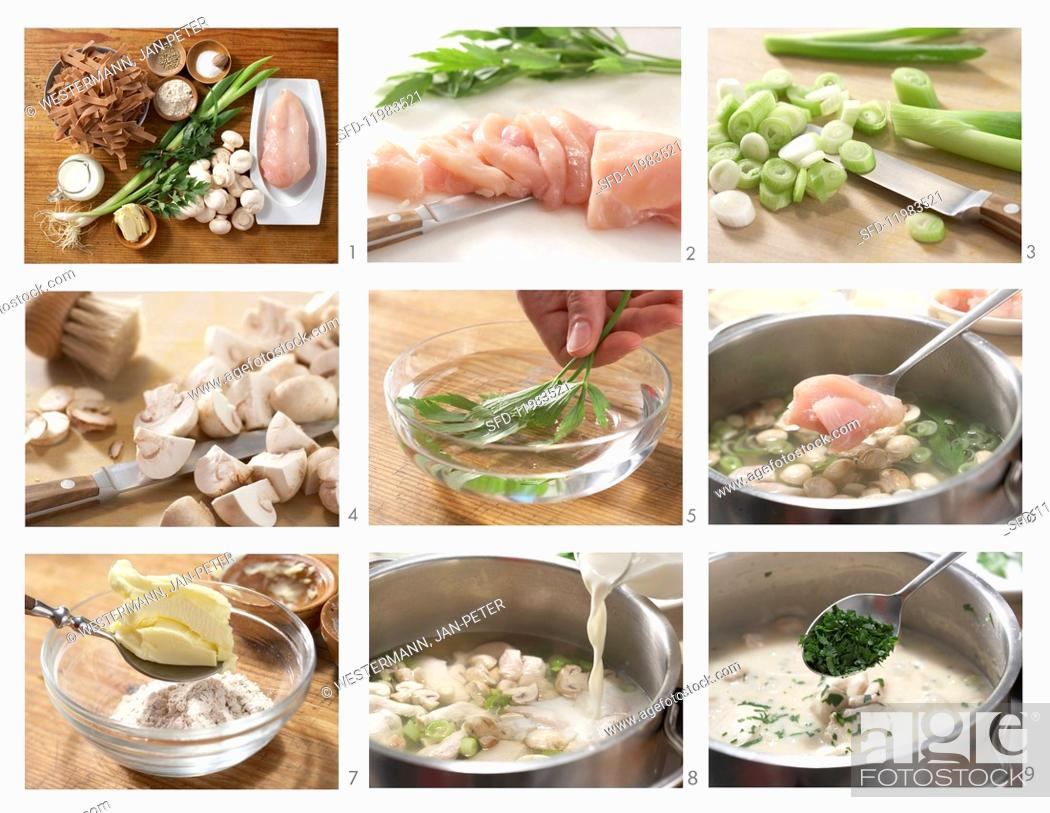 Photo de stock: How to prepare quick chicken fricassee with wholemeal pasta.