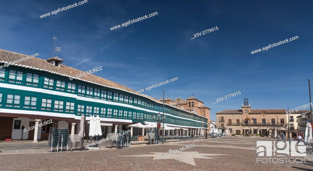 Stock Photo: Plaza Mayor de Almagro, Ciudad Real, Castilla-La Mancha, Spain, Europe, Don Quixote Route.