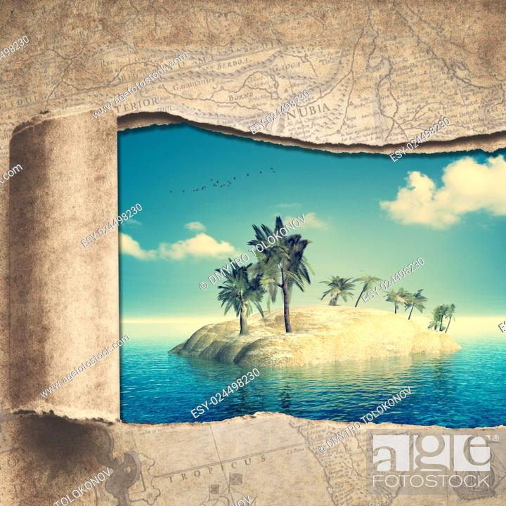 Stock Photo: Travel and adventure backgrounds with vintage map and beautiful tropical island.