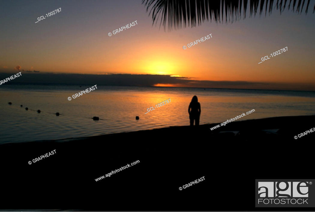 Stock Photo: Sunset in Mauritius.