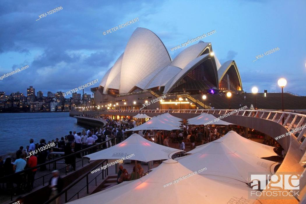 Stock Photo: Circular Quay and Opera Bar in front of the famous opera in Sydney, New South Wales, Australia.