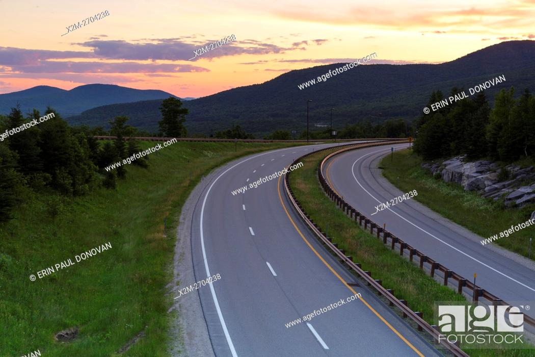 Stock Photo: Sunrise from along Route 93 in the northern section of Franconia Notch State Park in the New Hampshire White Mountains during the summer months.