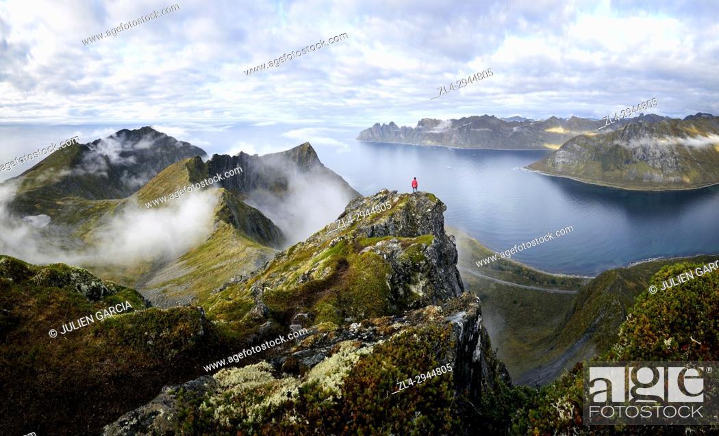 Stock Photo: Norway, Troms County, north of the Arctic Circle, Senja island between Tromso and the Lofoten islands, trekker at the summit of Husfjellet (635m).