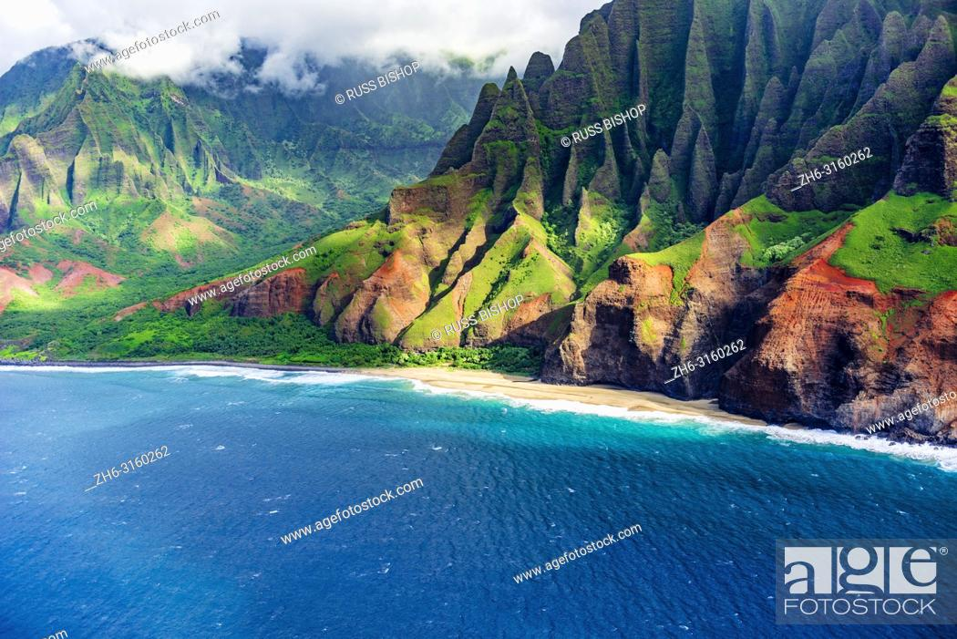 Stock Photo: Kalalau Beach on the Na Pali Coast (aerial), Napali Coast Wilderness State Park, Kauai, Hawaii USA.