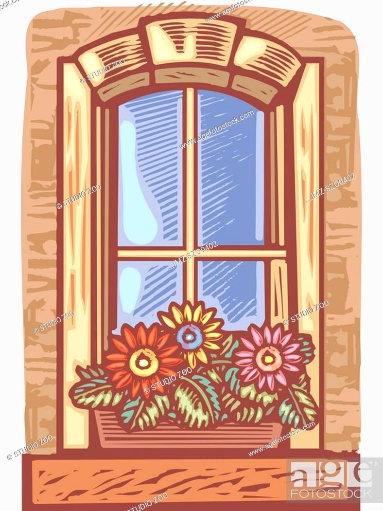 Stock Photo: Window with window box of flowers.