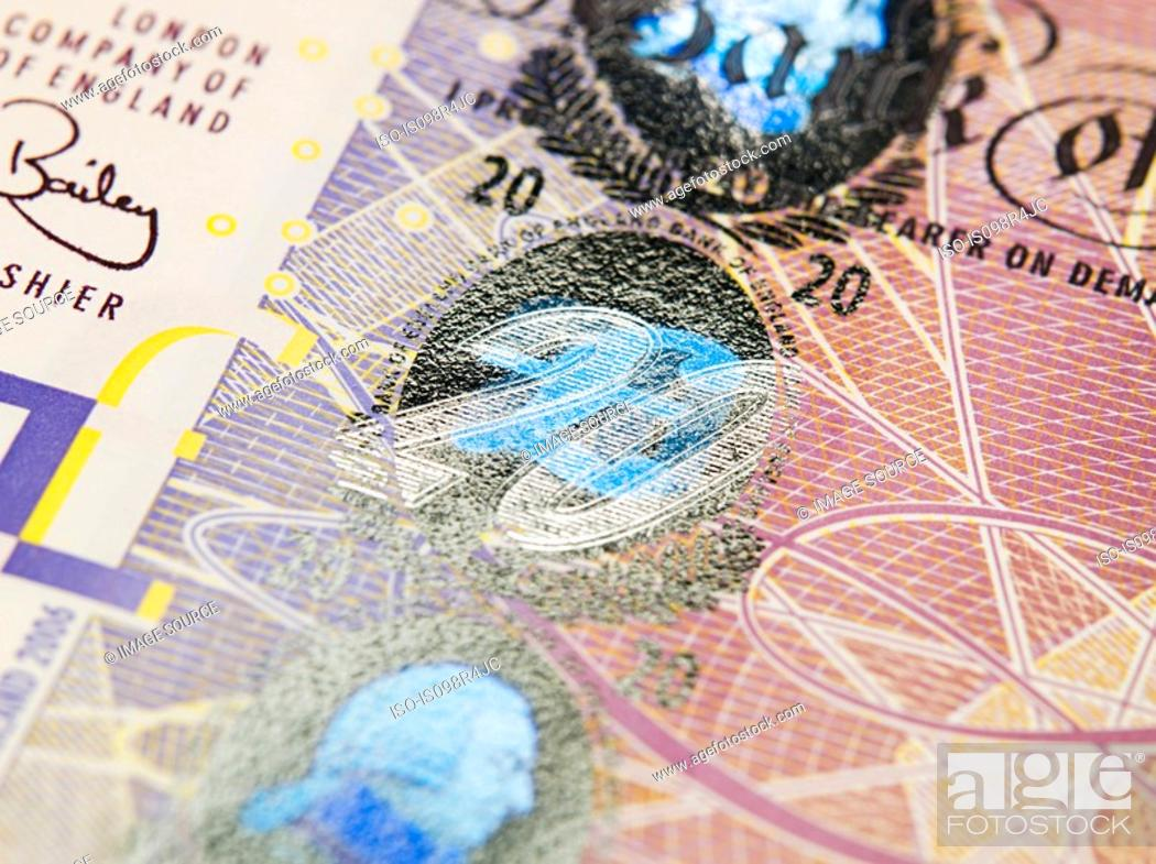 Stock Photo: Close up of twenty pound note.