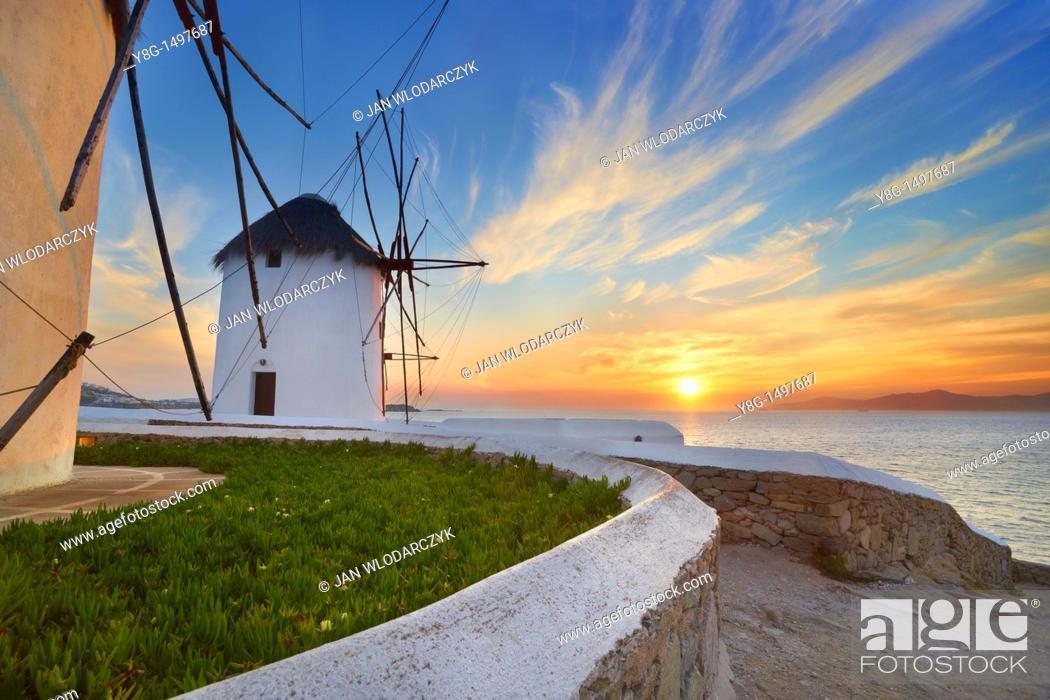 Stock Photo: Windmills of Mykonos Town, Mykonos, Cyklades, Greece.