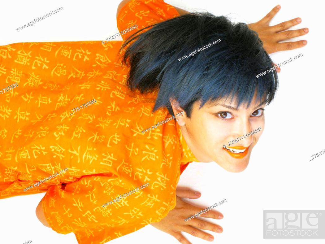 Stock Photo: women in Orange.