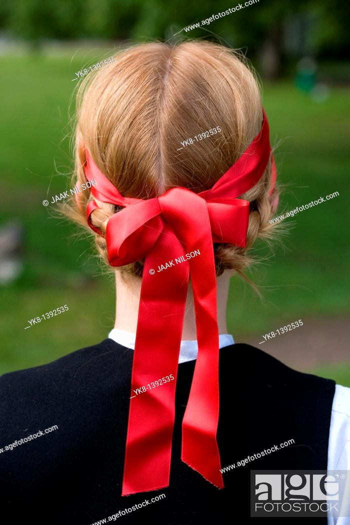 Stock Photo: Young Woman in Estonian National Costume Wearing Headband.