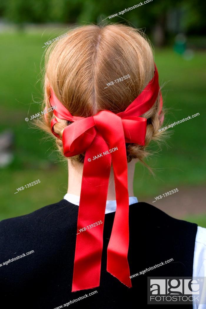 Stock Photo: Young Woman in Estonian National Costume Wearing Headband.