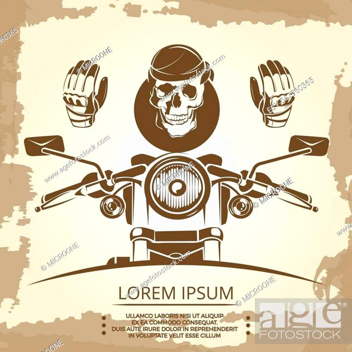 Vintage Moto Club Logo Design With Human Skull Vector Illustration Stock Vector Vector And Low Budget Royalty Free Image Pic Esy 047960365 Agefotostock