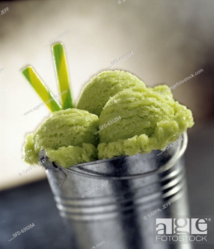 Stock Photo: Green Ice Cream.